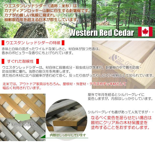 ウエスタン・レッドシダーはガーデン用品に非常に適した耐候性の高い木材です。