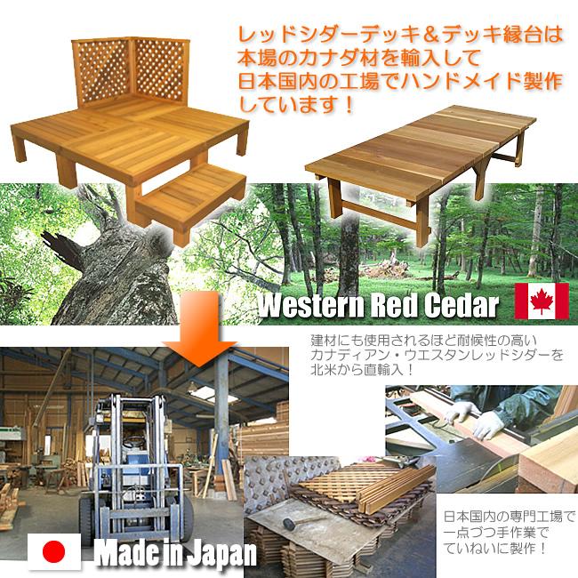 レッドシダーデッキ、レッドシダーデッキ縁台の材料は本場カナダ産を使用。日本国内の工場で製作しています。